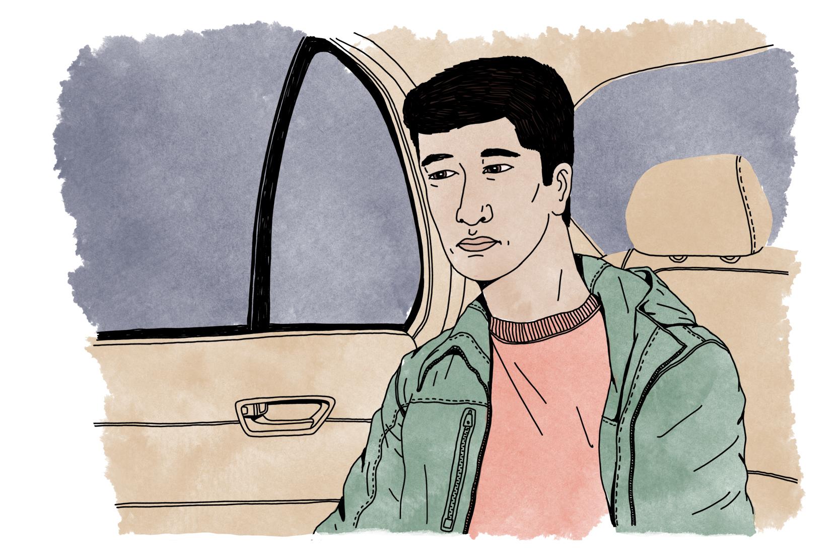 En person med allvarlig min sitter i baksätet på en bil, och ser ut genom rutan.