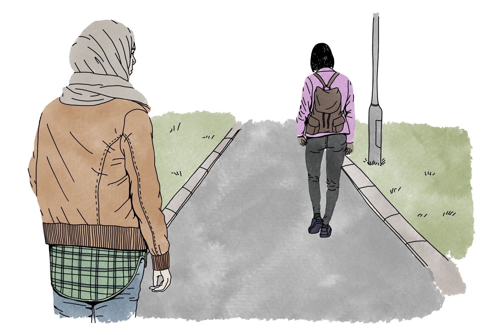 En person går bortåt på en väg, och en person står kvar och ser bort på hen.