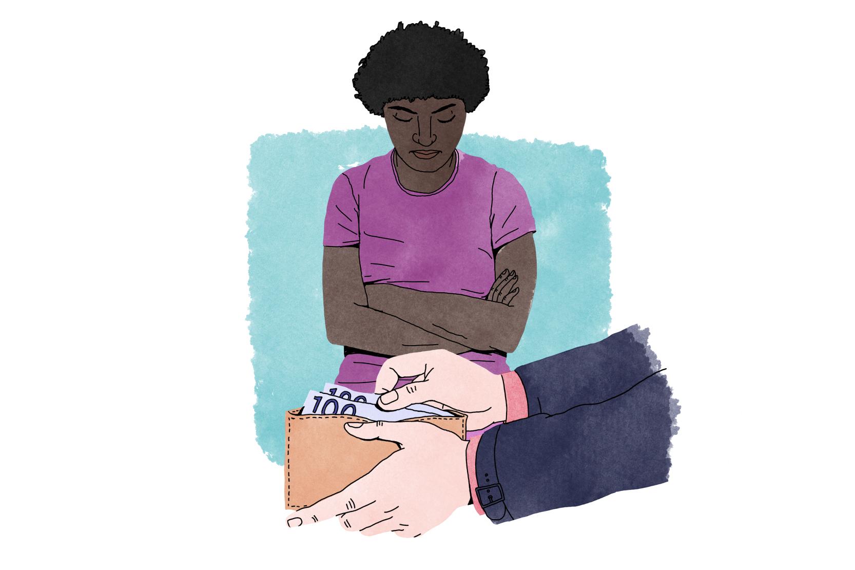 Händer plockar upp hundralappar ur en plånbok, framför en annan person.