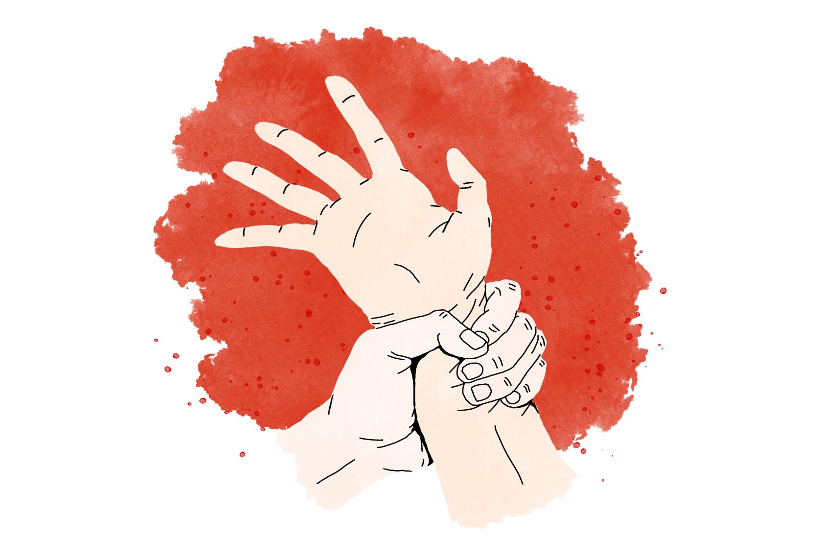 En hand som håller hårt om en annans handled.