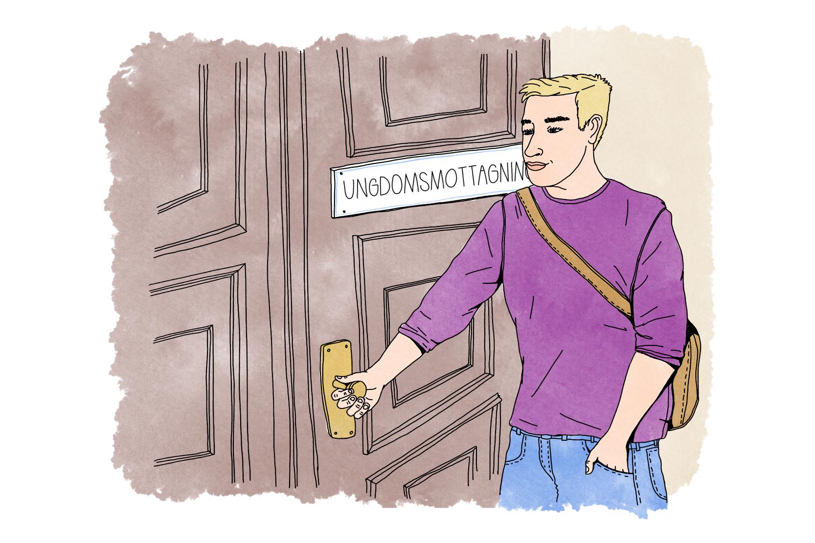 En person som står utanför en dörr med skylten Ungdomsmottagning. Hen håller i dörrens handtag.