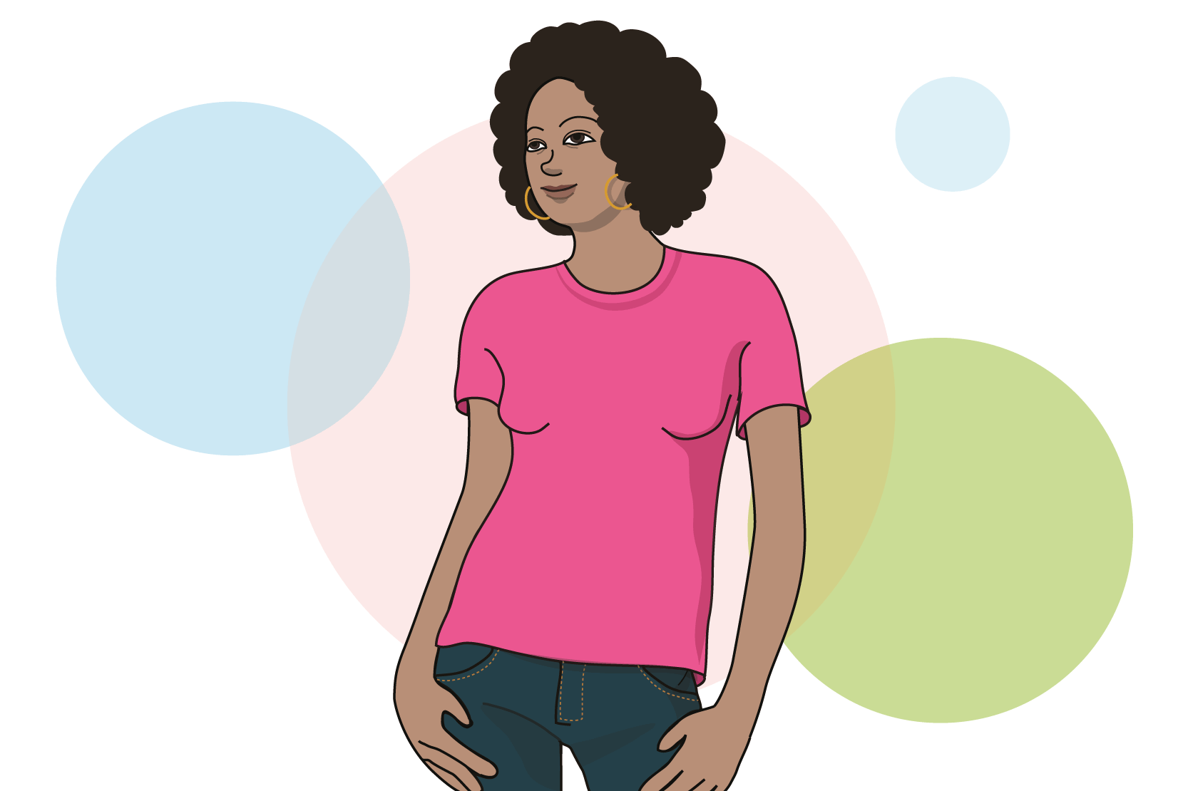 En person i jeans och t-shirt. Illustration.