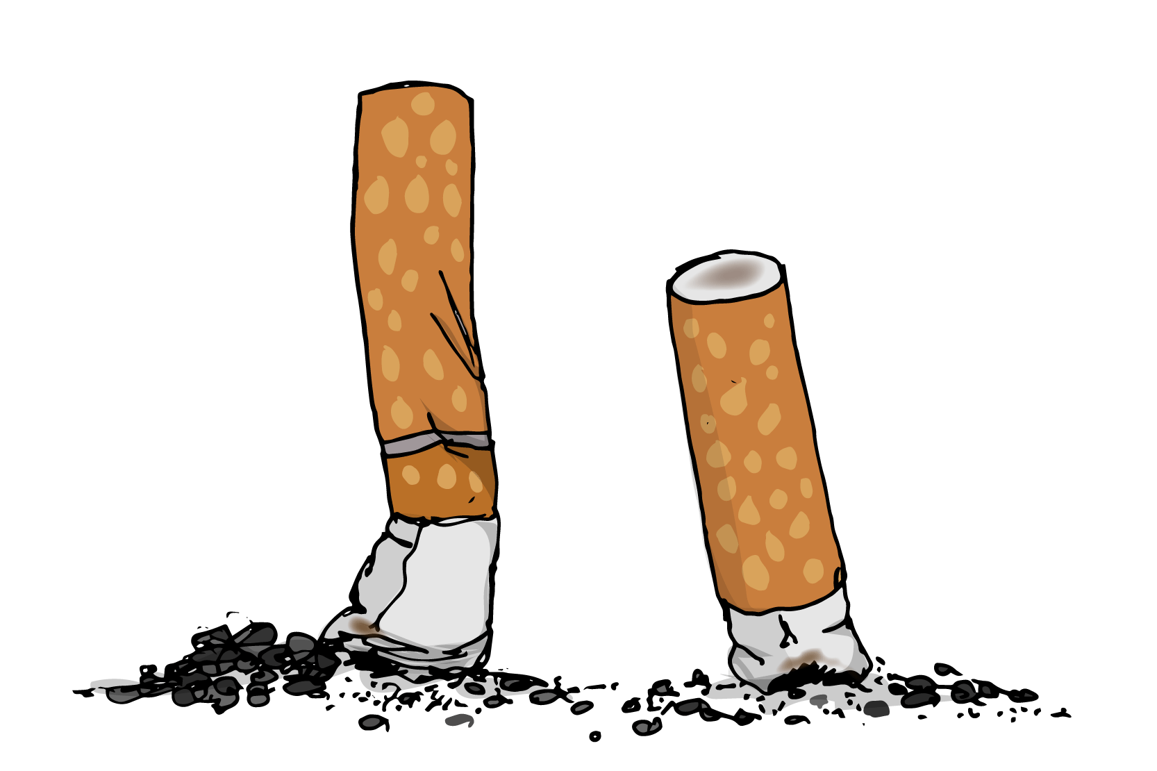 Två fimpade cigaretter. Illustration.